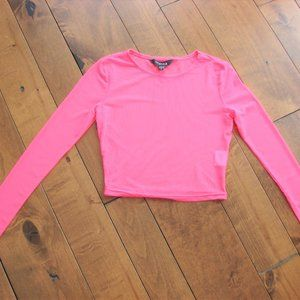 Neon Pink Short Cropped Sheer Top